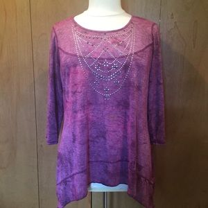 18/20 Avenue purple tunic with bedazzled beading